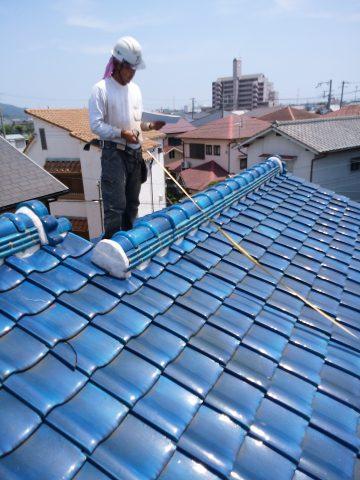 姫路市 天井にシミが出来ているので職人による屋根の現場調査