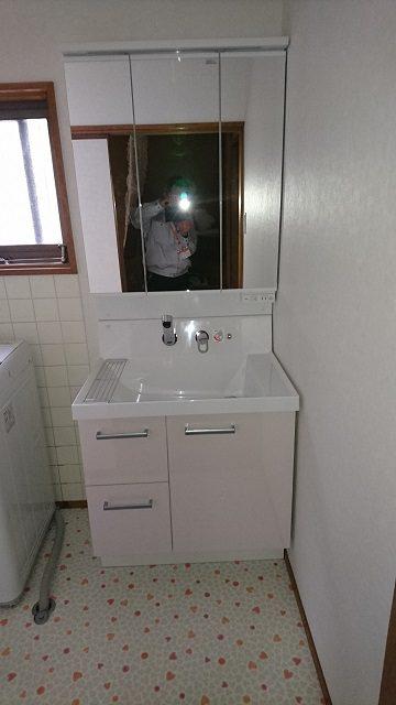 洗面台取替後