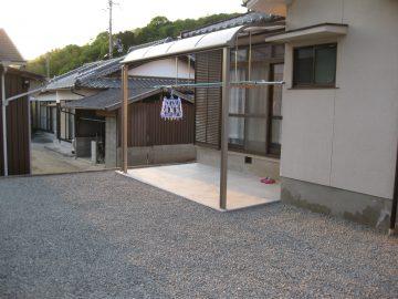 姫路市 庭にテラスと物干し場を作る工事