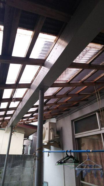 姫路市 木製テラス屋根張替工事
