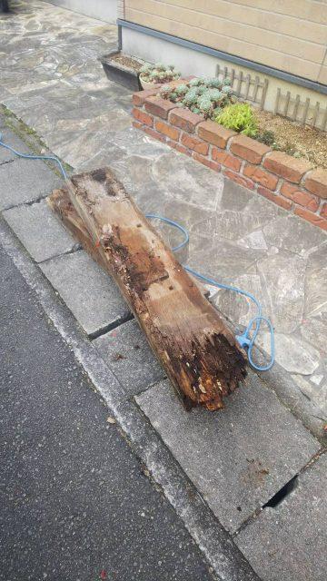 姫路市 花壇の枕木修繕