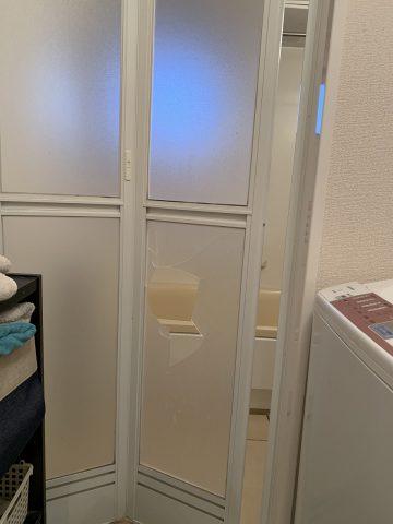 姫路市 お風呂折れ戸のアクリル板が割れた