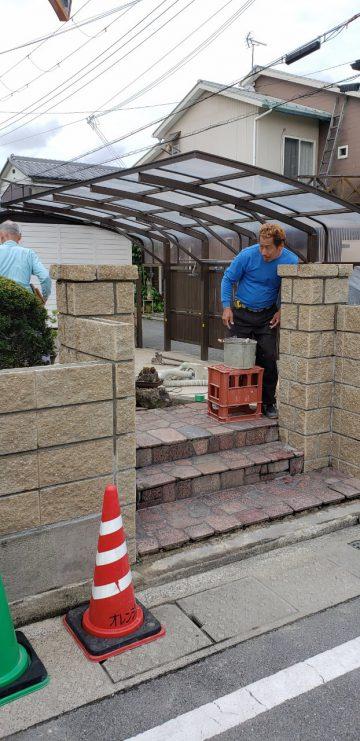 姫路市 フェンス及び門柱やりかえ工事