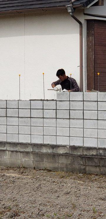 姫路市 ブロック積み直し工事