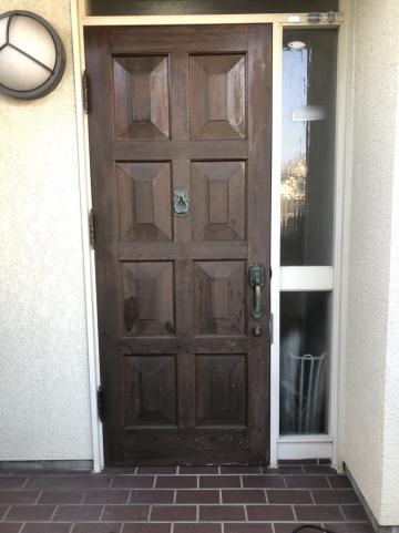 姫路市 木製玄関ドア塗装工事
