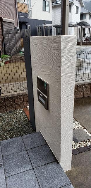 門柱塗装(施工後】裏
