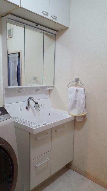 赤穂市 洗面化粧台の取替工事