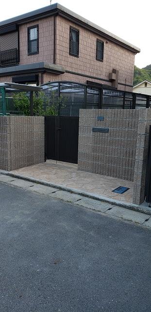 赤穂市 門扉と塀の移設