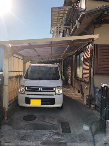 姫路市 車庫の波板貼替