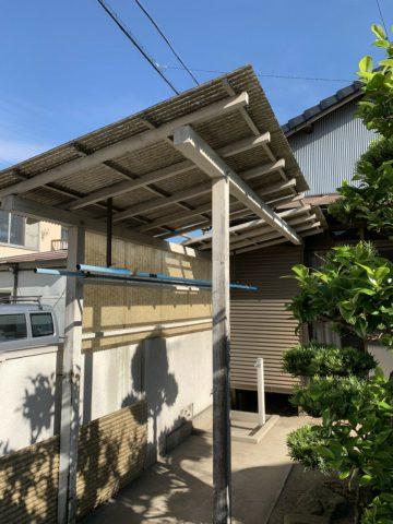 姫路市 木製テラスの波板交換