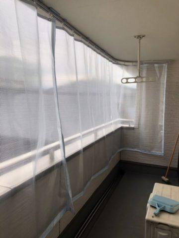 姫路市 バルコニーへ雨除けカーテン取付