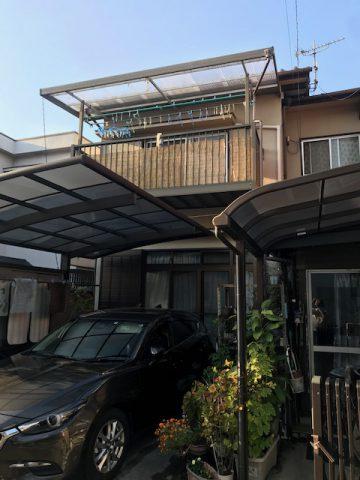 姫路市 ハトが巣を作ったテラス屋根