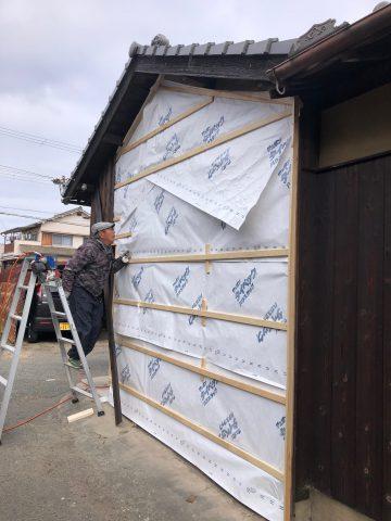 外部焼き板壁工事