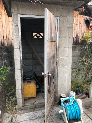 姫路市 納屋のドアをアルミへ