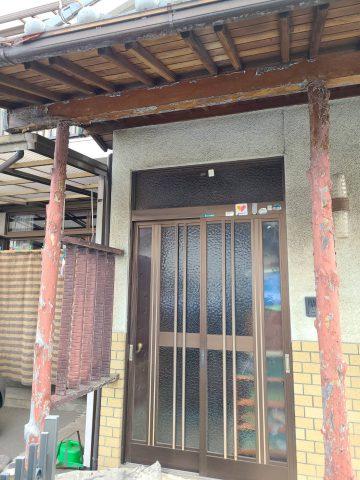 木部塗装 玄関柱