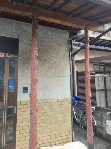 玄関柱塗装工事