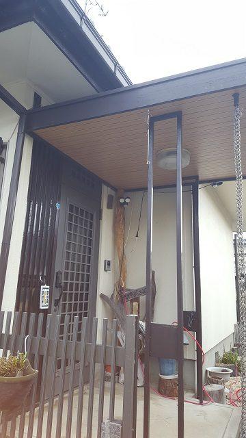 赤穂市 玄関庇天井を新しく!